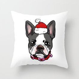 Boston Terrier Dog Christmas Hat Present Throw Pillow