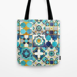 Spanish moroccan tiles inspiration // turquoise blue golden lines Tote Bag
