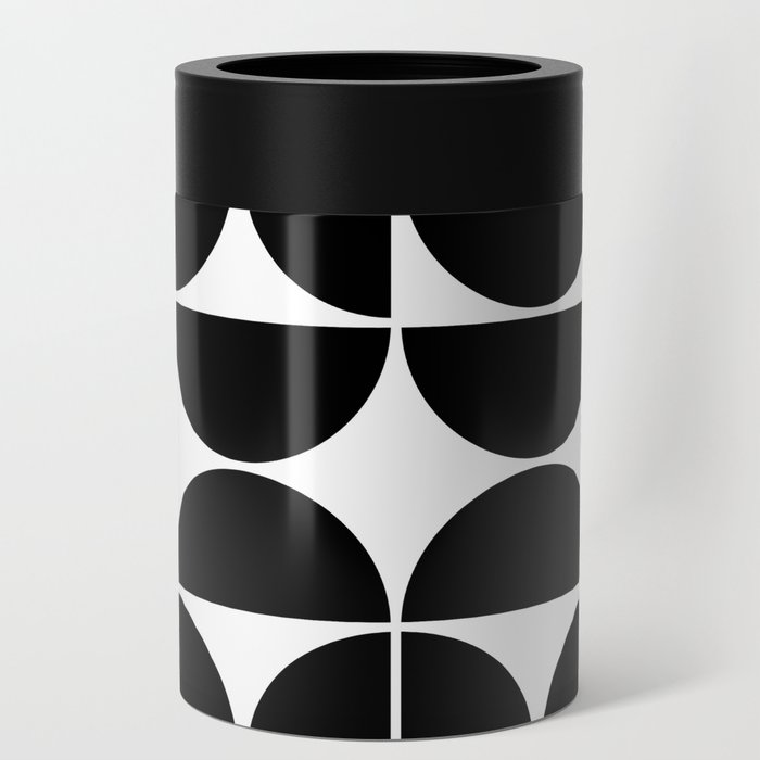 Mid Century Modern Geometric 04 Black Can Cooler