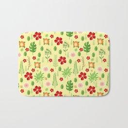Tropical yellow red green modern floral pattern Bath Mat