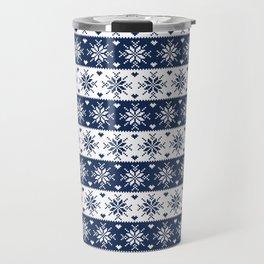 Navy Blue Fair Isle Christmas Pattern Travel Mug