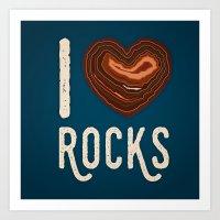 I Heart Rocks - North Shore Agate Hunting Club print  Art Print