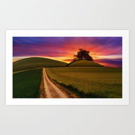 Purple Sunrise Behind the Hill Art Print