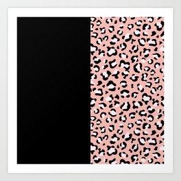 Animal Print, Leopard Spots - Pink Black Art Print