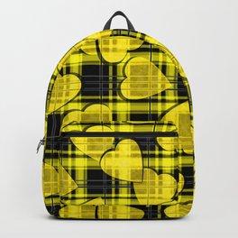 Black yellow plaid Backpack