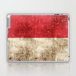 Vintage Aged and Scratched Indonesian Flag Laptop & iPad Skin