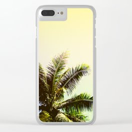 Yellow Blue Tropical Sky with Coco Palm Trees Clear iPhone Case