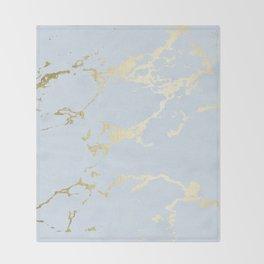 Kintsugi Ceramic Gold on Sky Blue Throw Blanket