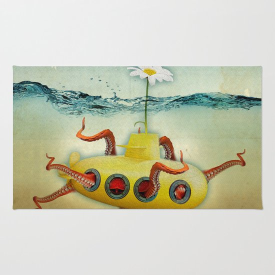 yellow submarine in an octapuses garden Rug