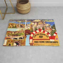 Orient Express, Istanbul — retro vintage travel poster Rug