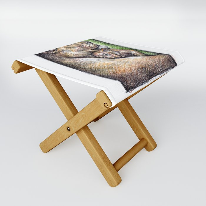 Lioness and Cub Folding Stool