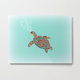 Cute Turtle Metal Print