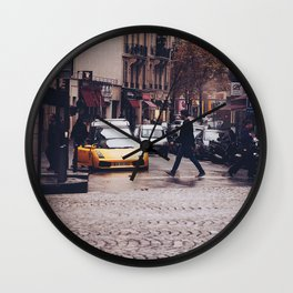 ITALIAN - YELLOW - MAN - STREETS - SUPERCAR - PHOTOGRAPHY Wall Clock