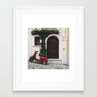vespa Framed Art Prints featuring Vespa by Simone Enei