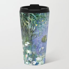 Water Lilies with Frog Travel Mug