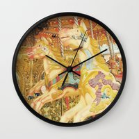 carousel Wall Clocks featuring Carousel Horse by Whimsy Romance & Fun