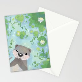 Otter in the Water Stationery Cards