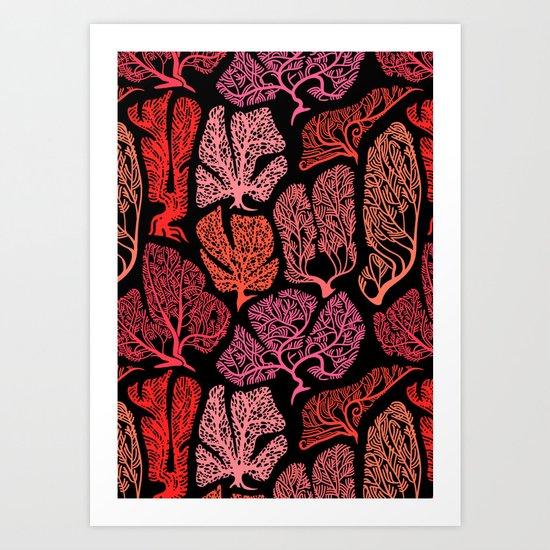 Graphic Corals on black. Art Print