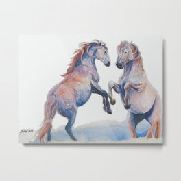 Fighting Stallions Wild Horse Metal Print