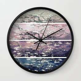 Vincent Van Gogh : Almond Blossoms Panel Art Teal Lavender Wall Clock