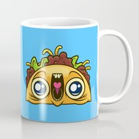 taco Mugs featuring Excited Taco by Artistic Dyslexia