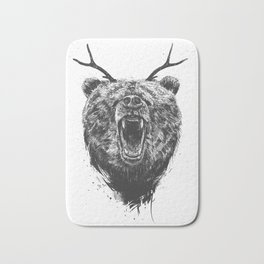 Angry bear with antlers Bath Mat
