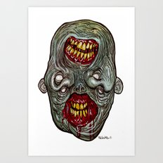 Heads of the Living Dead Zombies: Two Face Zombie Art Print