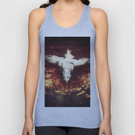 Fantasy artwork. Angel or Damon? Winged crature with crown. Unisex Tank Top