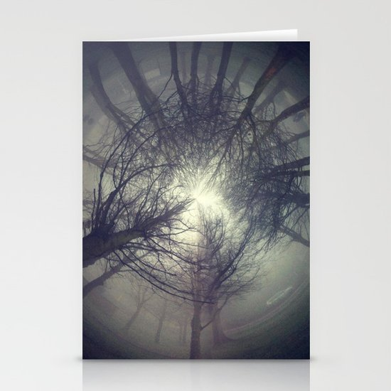 Circle of misty trees Stationery Cards