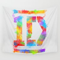 1d Wall Tapestries featuring 1D One Direction Watercolor by dan ron eli