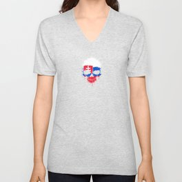 Flag of Slovakia on a Chaotic Splatter Skull Unisex V-Neck