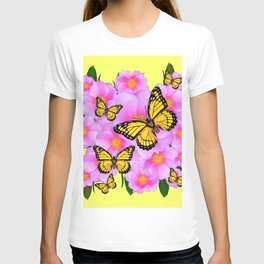 PINK WILD ROSES YELLOW MONARCH BUTTERFLIES T-shirt