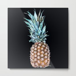Pineapple On A Black Background #decor #society6 Metal Print