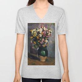 Paul Cézanne - Still Life with Flowers in an Olive Jar - Fleurs dans un pot d'olives Unisex V-Neck