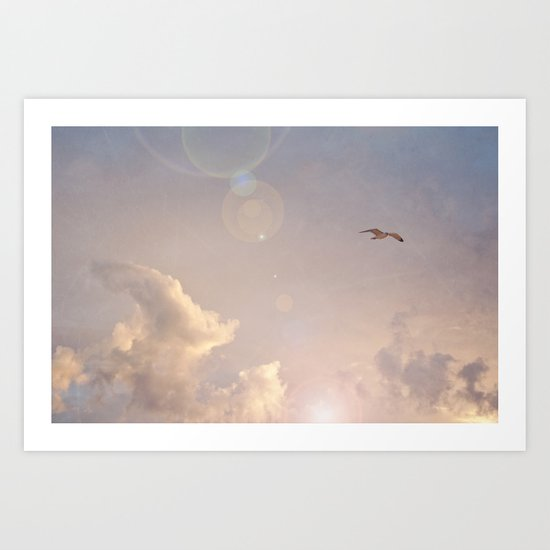 Seagull In the Clouds Art Print