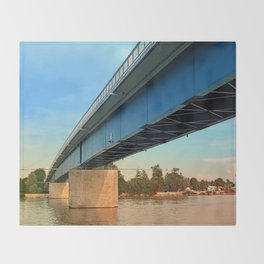 Bridge across the river Danube | architectural photography Throw Blanket