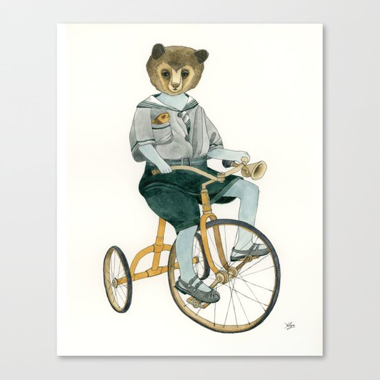 Bear on a Tricycle Canvas Print
