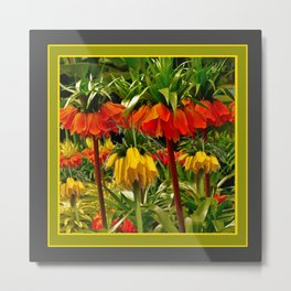 YELLOW & ORANGE CROWN IMPERIALS GARDEN Metal Print
