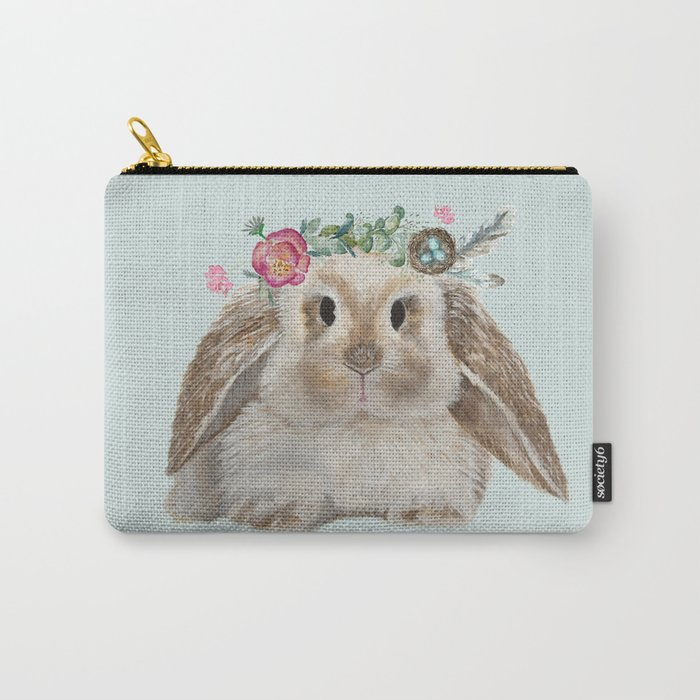 Spring Bunny with Floral Crown Carry-All Pouch
