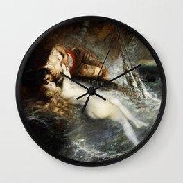 The Kiss of the Siren by Gustav Wertheimer, 1882 Wall Clock