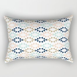 Aztec - Geometric tribal pattern in navy, gold glitter, pink, and blush Rectangular Pillow