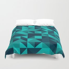 The bottom of the ocean - Random triangle pattern in shades of blue and turquoise  Duvet Cover