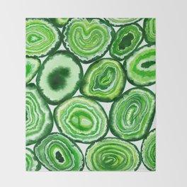 Green agate pattern watercolor Throw Blanket