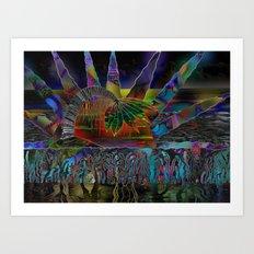 Doodlage 06 - Tropical Sundown Art Print