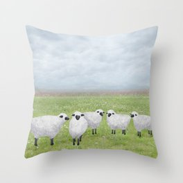 sheep and queen anne's lace Throw Pillow