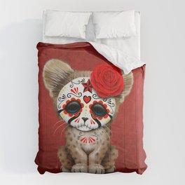Red Day of the Dead Sugar Skull Cheetah Cub Comforters