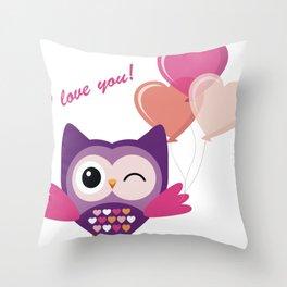 Cartoon Lovely Owl Throw Pillow