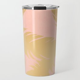 Boho Feather Pink Gold Travel Mug