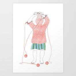 Knitster Girl Turtleneck Art Print