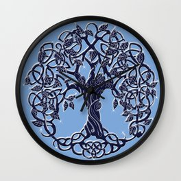 Tree of Life Blue Wall Clock
